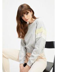 Miss Selfridge - Grey Stripe Sleeve Sweat Top - Lyst