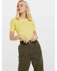 Miss Selfridge - Chartreuse Short Sleeve Clean Rib T-shirt - Lyst