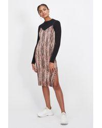 Miss Selfridge - Pale Pink Snake Print Plisse Slip Dress - Lyst