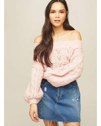 Miss Selfridge - Pink Pointelle Bardot Jumper - Lyst