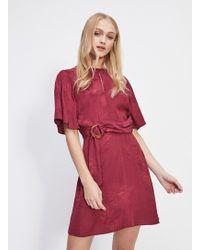 Miss Selfridge - Burgundy Self Jacquard Buckle Mini Shift Dress - Lyst