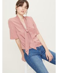 Miss Selfridge - Pink Pussy Bow Blouse - Lyst