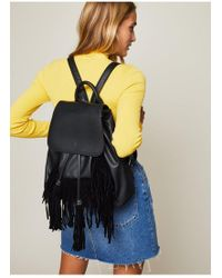 Miss Selfridge - Fringe Backpack Black - Lyst