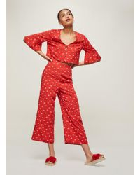 a50bd71d74242 Miss Selfridge Red High Waisted Wide Leg Trousers in Red - Lyst