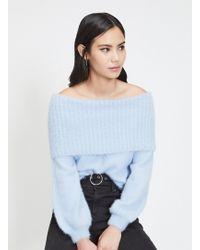 0c67c51ebbfc Miss Selfridge Cream Fluffy Yarn Bardot Knitted Jumper in White - Lyst