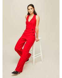 Miss Selfridge - Red Button Jumpsuit - Lyst