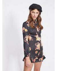 cf45176f7fe Miss Selfridge - Floral Jacquard Bow Playsuit - Lyst