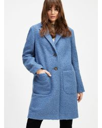 d5de5475d8f Miss Selfridge Burgundy Double Breasted Coat - Lyst