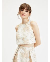 9c2972a4ab2cf Miss Selfridge Pink Velvet Crop Top in Pink - Lyst