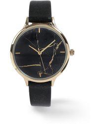 Miss Selfridge - Black Marble Watch - Lyst