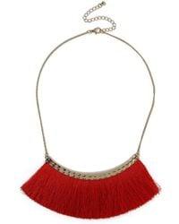 Miss Selfridge - Statement Red Fringe Necklace - Lyst