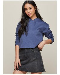 Miss Selfridge - Indigo Blue Cropped Hoodie - Lyst
