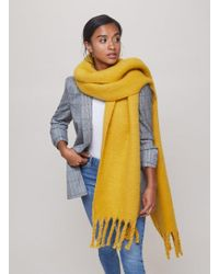 Miss Selfridge - Ochre Oversized Brushed Scarf - Lyst