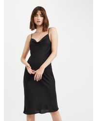 d1206dec969 Miss Selfridge - Black Cowl Neck Midi Slip Dress - Lyst
