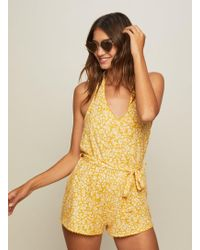 Miss Selfridge - Ochre Halter Neck Playsuit - Lyst