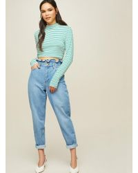 Miss Selfridge - Frill Top Mom Jeans - Lyst