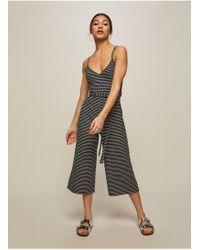 Miss Selfridge - Petite Black Stripe Ribbed Tie Jumpsuit - Lyst