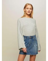 Miss Selfridge - Grey Wide Sleeve Knitted Jumper - Lyst