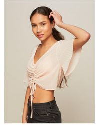 Miss Selfridge - Petite Shimmer Ruched Blouse - Lyst