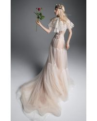 Vera Wang - Henrietta Tulle A-line Gown With Macrame Lace Accents And Corset Bodice - Lyst