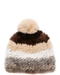 Pologeorgis - Knitted Mink And Fox Pom-pom Hat - Lyst