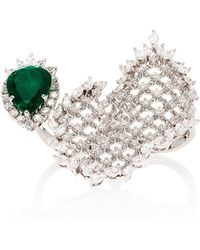 YEPREM Double-finger Diamond And Emerald Cage Ring