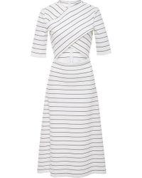 Rosetta Getty - Cutout Striped Stretch-jersey Midi Dress - Lyst