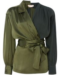Marni - Two-tone Belted Crepe De Chine Wrap Blouse - Lyst