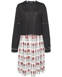 Prada - Pleated Printed Crepe And Jersey Dress - Lyst