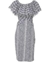 Frederick Anderson - Ruffle Collar Tweed Dress - Lyst