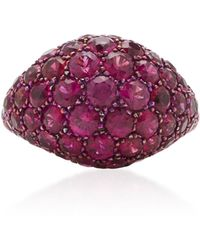 Gioia - 18k Gold And Ruby Pinkie Ring - Lyst