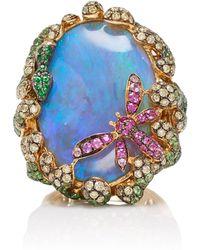 Wendy Yue - 18k Gold, Opal, Tsavorite, Diamond, Sapphire And Ruby Ring - Lyst