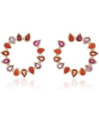 She Bee - 14k Gold, Coral, And Sapphire Hoop Earrings - Lyst