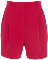 Sally Lapointe - Pleated Stretch-crepe Shorts - Lyst