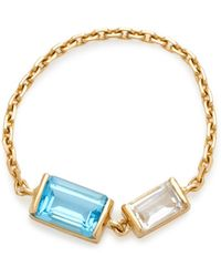 Yi Collection - 18k Gold Topaz And Aquamarine Chain Ring - Lyst