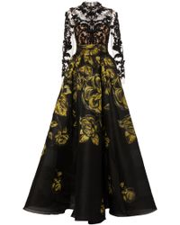 Marchesa - Embroidered Floral Jacquard Ballgown - Lyst