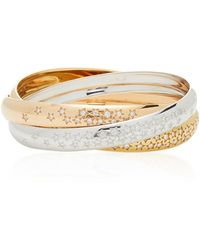 Cartier - 18k Tri-gold Interlocking Bangle - Lyst
