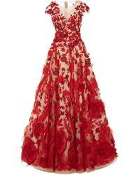Marchesa - Illusion V-neck Ballgown With Silk Organza Flowers - Lyst