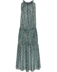 Stella McCartney - Snake-effect Tiered Maxi Dress - Lyst