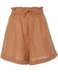 Miguelina - Sienna Striped Linen Mini Shorts - Lyst