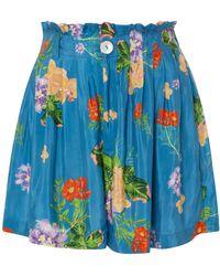 VERANDAH - Floral Taffeta Mini Shorts - Lyst