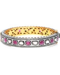 Sanjay Kasliwal - 14k Gold, Silver, Ruby And Diamond Bracelet - Lyst