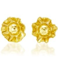 Fred Leighton - One-of-a-kind 22k And 18k Yellow Gold Stylised Flower Earrings By Jean Mahie - Lyst