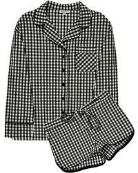 Sleeper - Black Gingham Pyjama Set With Shorts - Lyst