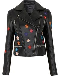 Saloni - Rosa Floral-embroidered Leather Jacket - Lyst