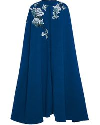 Luisa Beccaria - Crepe Stretch Double Faced Cape With Sequin Embroidery - Lyst