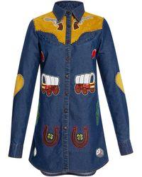 Manish Arora - Hand Embroidered Denim Shirt Dress - Lyst