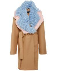 Rochas - Detachable-collar Belted Coat - Lyst