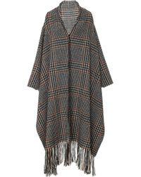 Oscar de la Renta - Fringe-trimmed Prince Of Wales Wool-alpaca-blend Coat - Lyst