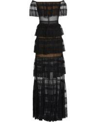 Zuhair Murad - Tiered Off-the-shoulder Silk-blend Lace Maxi Dress - Lyst